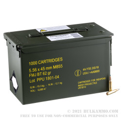 1000 Rounds of 5.56x45 Ammo by Prvi Partizan in Ammo Can - 62gr FMJBT M855