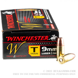 50 Rounds of 9mm Train & Defend Ammo by Winchester - 147gr FMJ