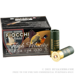 """250 Rounds of 12ga Ammo by Fiocchi - High Velocity 2-3/4"""" 1-1/4 ounce #5 shot"""