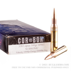20 Rounds of .338 Lapua Ammo by Corbon Performance Match - 300 gr HPBT Subsonic