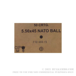 50 Rounds of 5.56x45 SS109 Ammo by Lithuanian Military Surplus - 62gr FMJ