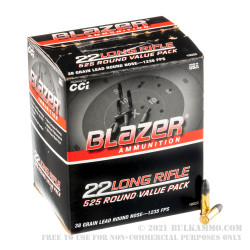 525 Rounds of .22 LR Ammo by Blazer - 38gr LRN