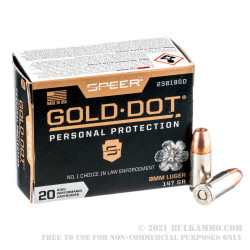 200 Rounds of 9mm Ammo by Speer Gold Dot - 147gr JHP