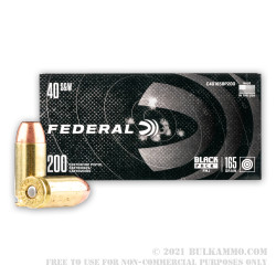 800 Rounds of .40 S&W Ammo by Federal Black Pack - 165gr FMJ