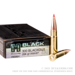 200 Rounds of .300 AAC Blackout Ammo by Hornady BLACK - 208gr A-MAX