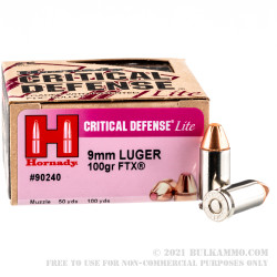 250 Rounds of 9mm Ammo by Hornady Critical Defense Lite - 100gr FTX