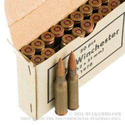 500 Rounds of .308 Win Ammo by Sellier & Bellot Military Surplus 1970s Production - 147gr FMJ *Corrosive*