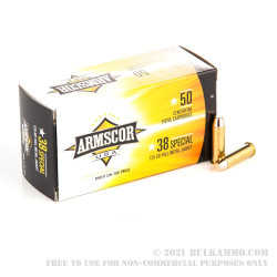 1000 Rounds of .38 Spl Ammo by Armscor - 125gr FMJ