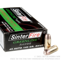 50 Rounds of .45 ACP Ammo by Sinterfire - 140gr Frangible