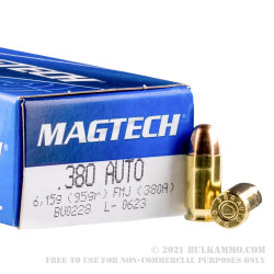50 Rounds of .380 ACP Ammo by Magtech - 95gr FMJ
