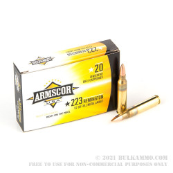 20 Rounds of .223 Ammo by Armscor - 62gr FMJBT
