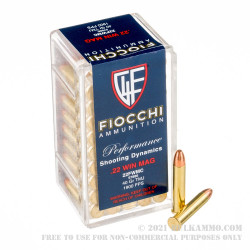 50 Rounds of .22 WMR Ammo by Fiocchi - 40gr TMJ
