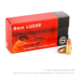 50 Rounds of 9mm Ammo by GECO - Swiss - 124gr FMJ