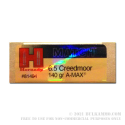 20 Rounds of 6.5 mm Creedmoor Ammo by Hornady - 140gr A-MAX Match