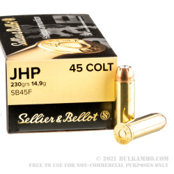 50 Rounds of .45 Long-Colt Ammo by Sellier & Bellot - 230gr JHP