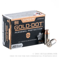 500 Rounds of 40 S&W Ammo by Speer Gold Dot - 180gr JHP