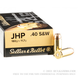 1000 Rounds of 40 S&W Ammo by Sellier & Bellot - 180gr JHP