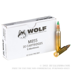20 Rounds of 5.56x45 Ammo by Wolf Gold - 62gr FMJ M855