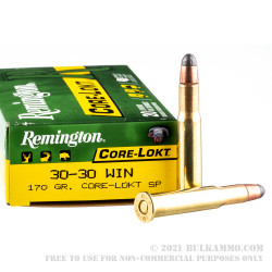 20 Rounds of 30-30 Win Ammo by Remington - 170gr SP
