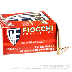 500 Rounds of .300 AAC Blackout Ammo by Fiocchi - 150gr FMJBT
