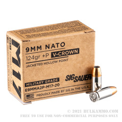 20 Rounds of 9mm +P Ammo by Sig Sauer Elite M17 - 124gr V-Crown JHP