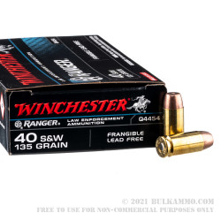 500 Rounds of .40 S&W Ammo by Winchester Ranger - 135gr Frangible