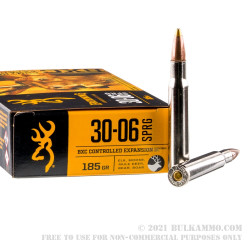 20 Rounds of 30-06 Springfield Ammo by Browning BXC - 185 Grain Brass Tip Boat tail
