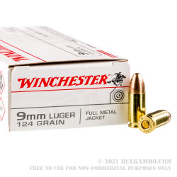 500  Rounds of 9mm Ammo by Winchester - 124gr FMJ
