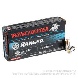 50 Rounds of .45 ACP Ammo by Winchester - Ranger T Series - +P 230gr JHP