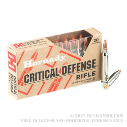 20 Rounds of .223 Ammo by Hornady Critical Defense - 55gr FTX