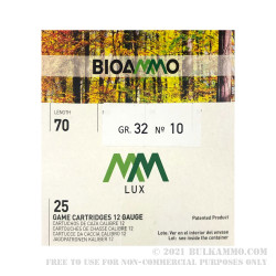 250 Rounds of 12ga Ammo by BioAmmo Lux Lead - 1-1/8 ounce #10 shot