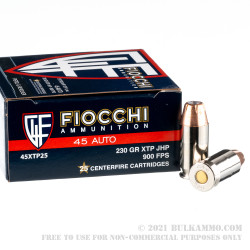 25 Rounds of .45 ACP Ammo by Fiocchi - 230gr JHP
