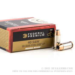 200 Rounds of .40 S&W Ammo by Federal - 180gr Hydra Shok JHP
