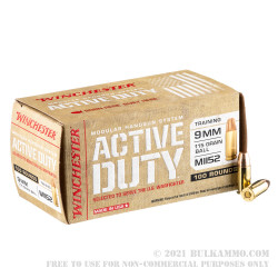 100 Rounds of 9mm Ammo by Winchester Active Duty - 115gr FMJ M1152