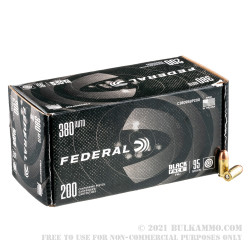 800 Rounds of .380 ACP Ammo by Federal Black Pack - 95gr FMJ