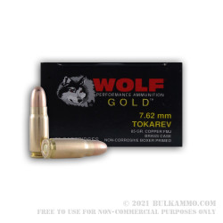 50 Rounds of 7.62 Tokarev Ammo by Wolf Gold - 85gr FMJ