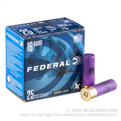 25 Rounds of 16ga Ammo by Federal - 1 ounce #7 1/2 shot