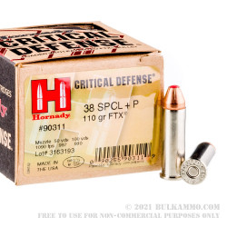 250 Rounds of .38 Spl Ammo by Hornady - 110gr JHP