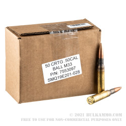 50 Rounds of .50 BMG Ammo by Lake City - 660gr FMJ M33
