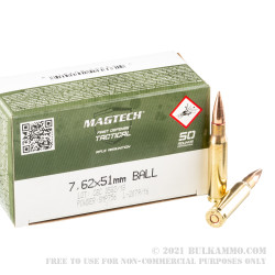 50 Rounds of 7.62x51 Ammo by Magtech - 147gr FMJ M80