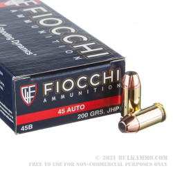 50 Rounds of .45 ACP Ammo by Fiocchi - 200gr JHP