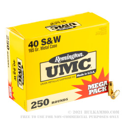 1000 Rounds of .40 S&W Ammo by Remington - 165gr MC
