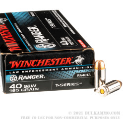 500 Rounds of 40 S&W Ammo by Winchester Ranger T-Series - 165gr JHP