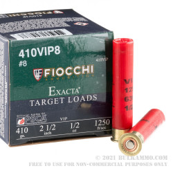 """250 Rounds of .410 ammo by Fiocchi - 2-1/2"""" 1/2 ounce #8 Shot"""