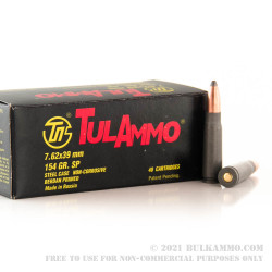 40 Rounds of 7.62x39mm Ammo by Tula - 154gr SP