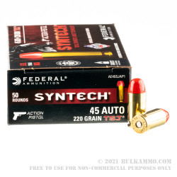 500 Rounds of .45 ACP Ammo by Federal Syntech Action Pistol - 220gr Total Synthetic Jacket FN