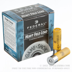 "25 Rounds of 20ga Ammo by Federal Game-Shok - 2 3/4"" 1 ounce #8 shot"