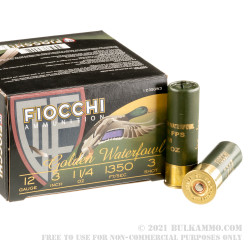 """25 Rounds of 12ga Ammo by Fiocchi Golden Waterfowl - 3"""" 1 1/4 ounce #3 Steel Shot"""