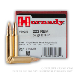 500  Rounds of .223 Ammo by Hornady - 52gr HPBT