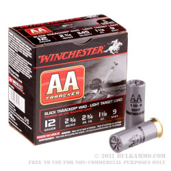 """25 Rounds of 12ga Ammo by Winchester TrAAcker Black -  2-3/4"""" 1-1/8 ounce #9 shot"""
